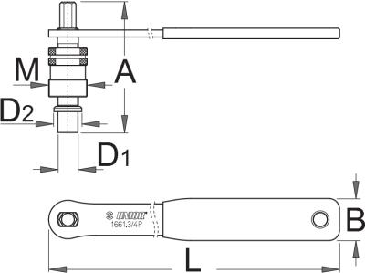 חולץ גלגל שרשרת לציר משונן עם ידית Unior דגם 1661.3/4P