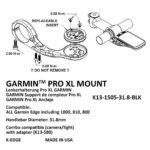 התקן K-edge למחשב Garmin XL Mount