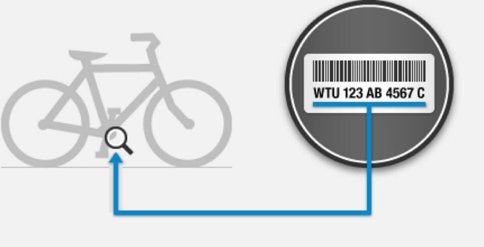 את מספר השלדה ניתן לראות תחת הצינור התחתון של האופניים